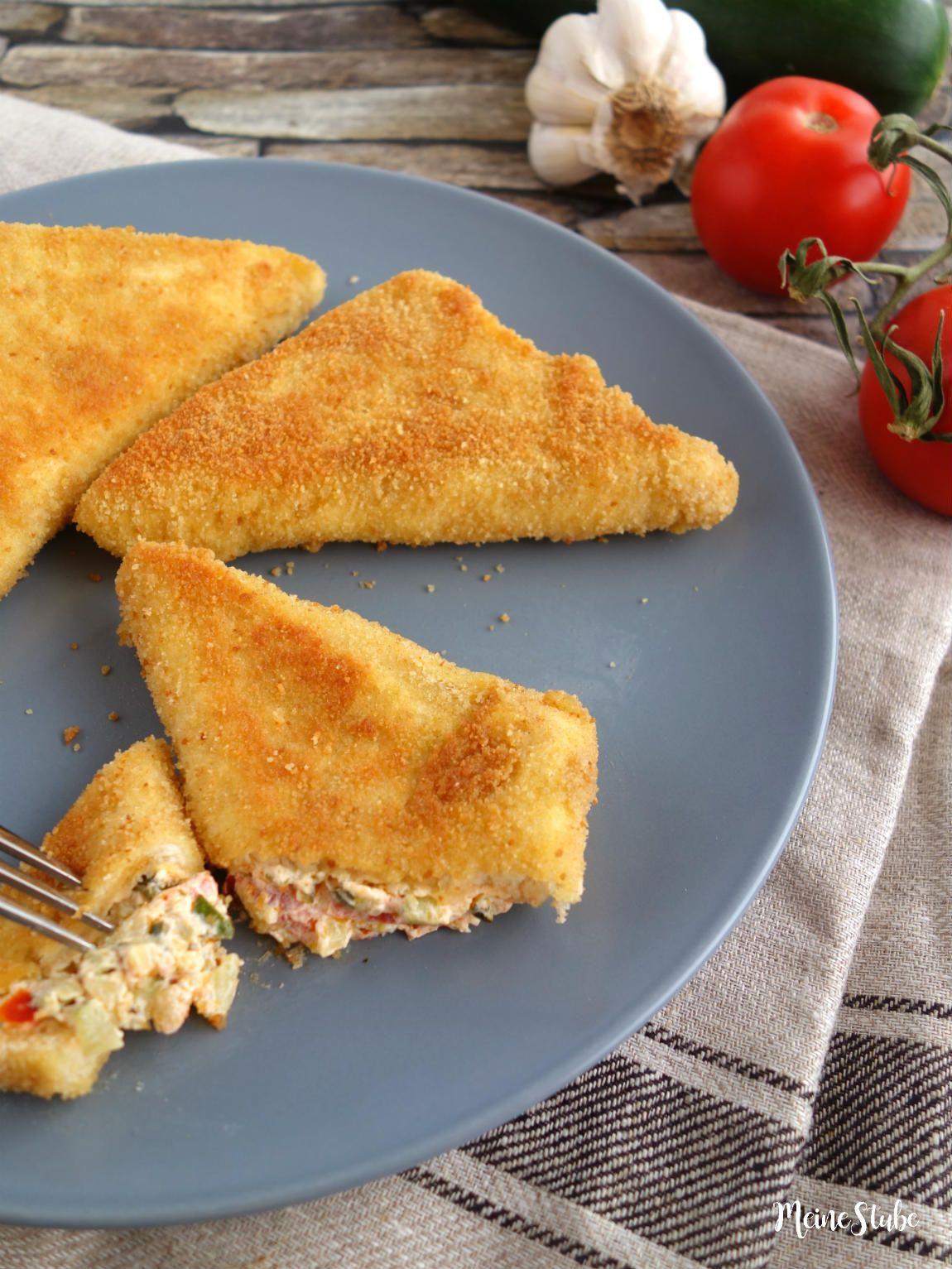 Zucchini-Frischkäse-Taschen, paniert und knusprig gebraten - MeineStube