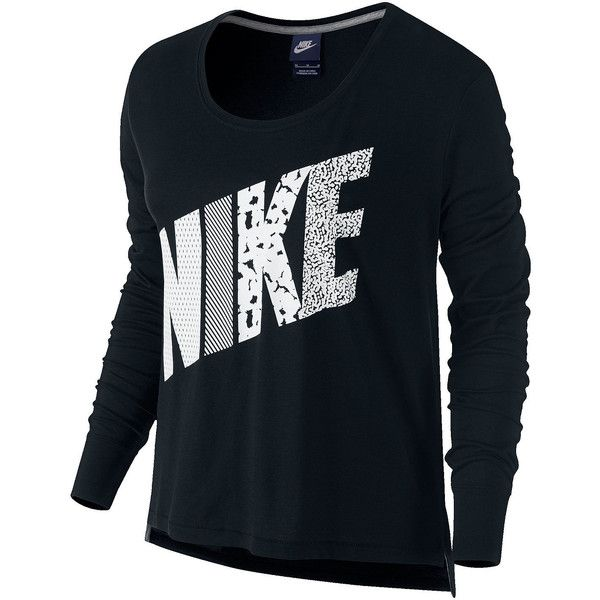 0d796c666 Nike Long-Sleeve Prep T-Shirt ($35) ❤ liked on Polyvore featuring tops, t- shirts, scoop neck t shirt, loose tee, screen print t shirts, blue tee and  drapey ...