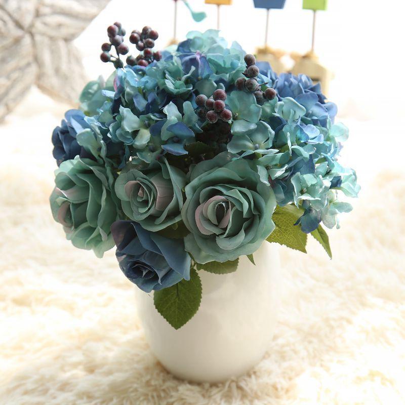 1 bunch 6pcs artificial flowers blue rose silk flower bouquet for 1 bunch 6pcs artificial flowers blue rose silk flower bouquet for home decoration hydrangea fake flower mightylinksfo