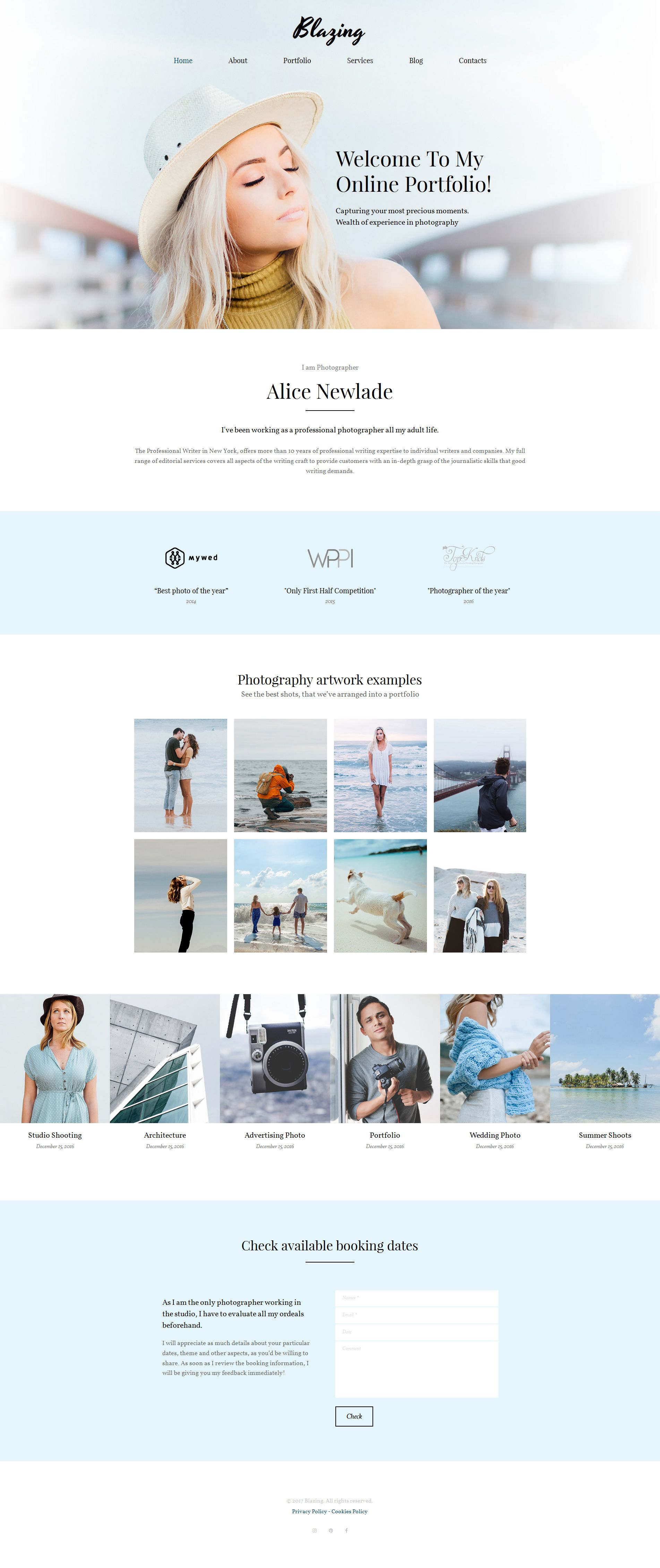 Photographer Portfolio Photo Gallery Template Pinterest