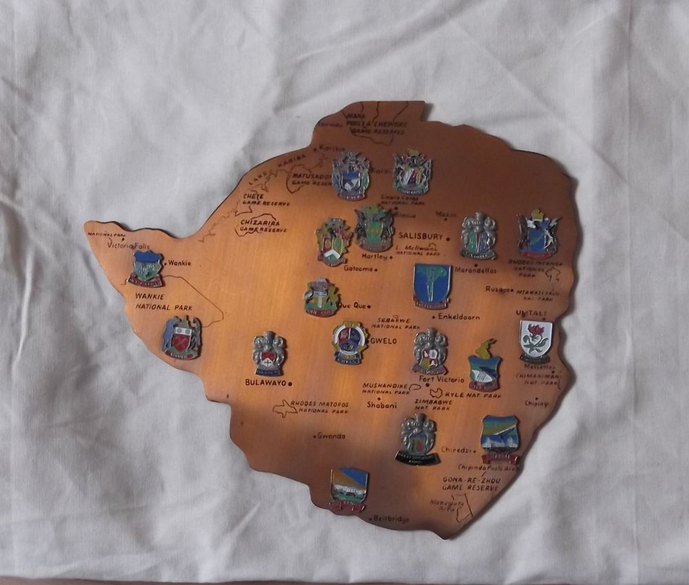 Copper Map of Rhodesia City Town Names Crests Rhodesia