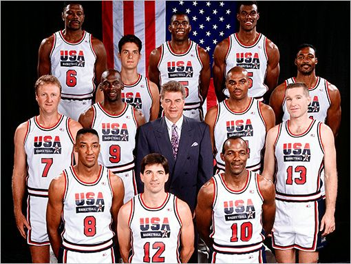 The 1992 United States Men S Olympic Basketball Team Nicknamed The Dream Team Was The First American Olympic T Team Usa Olympics Sports Team Usa Basketball