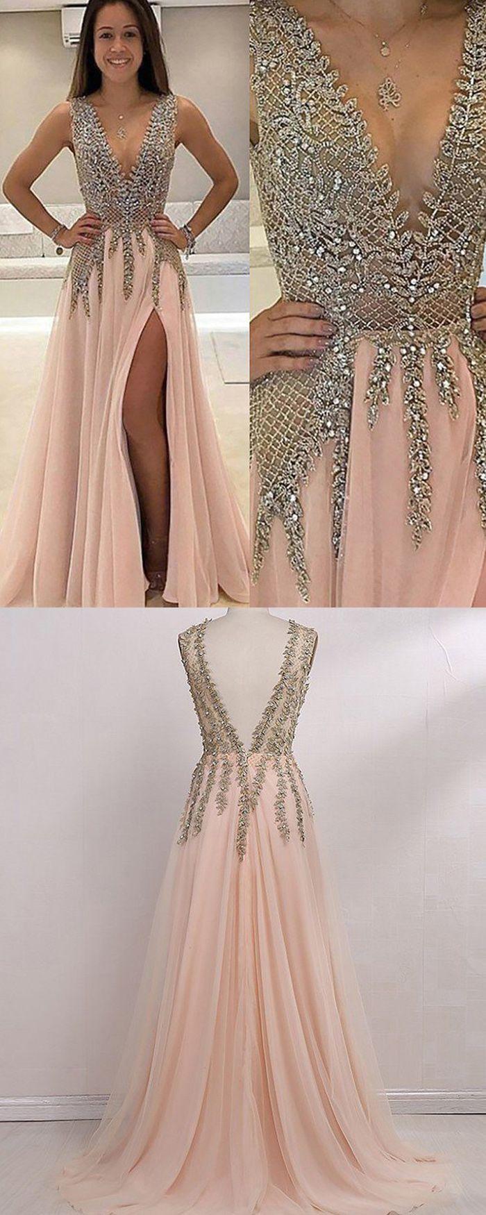 Vneck lace beading bodice pink long prom dress with side slit
