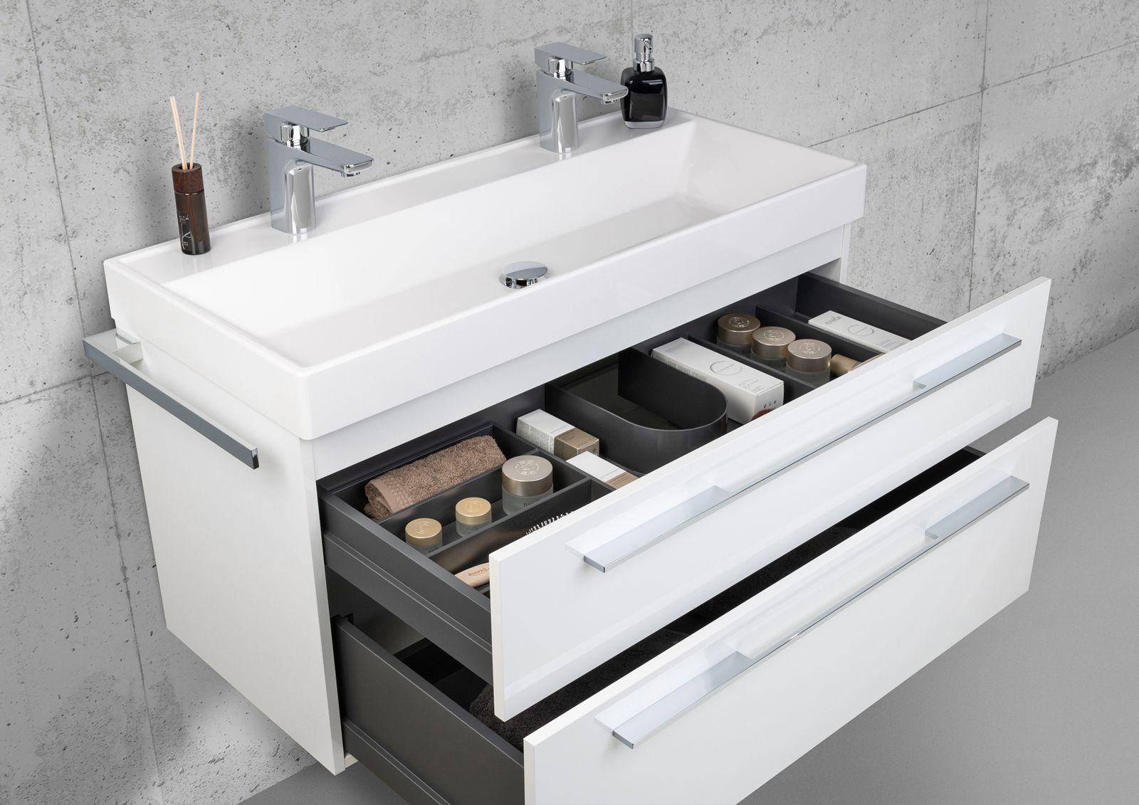 Badmöbel Set 100 cm Doppelwaschbecken mit Unterschrank ...
