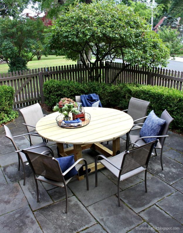DIY How to Build a Round Outdoor Dining Table Round