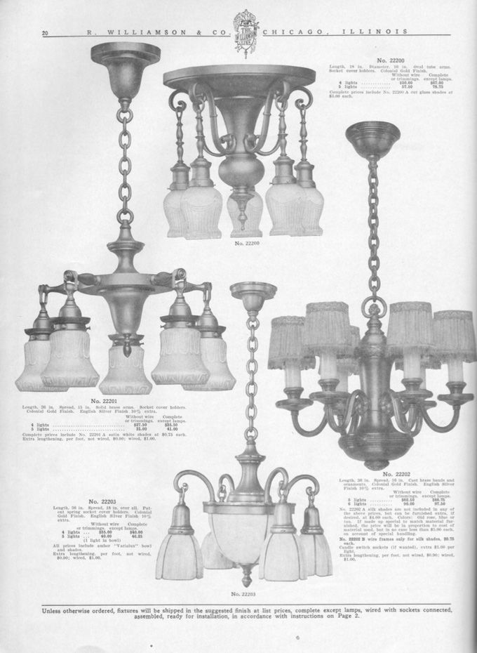 Vintage and Antique Chandeliers, Wall Sconces, Table Lamps, Industrial and  Bathroom - R.Williamson And Co. Circa 1910. Vintage And Antique Chandeliers