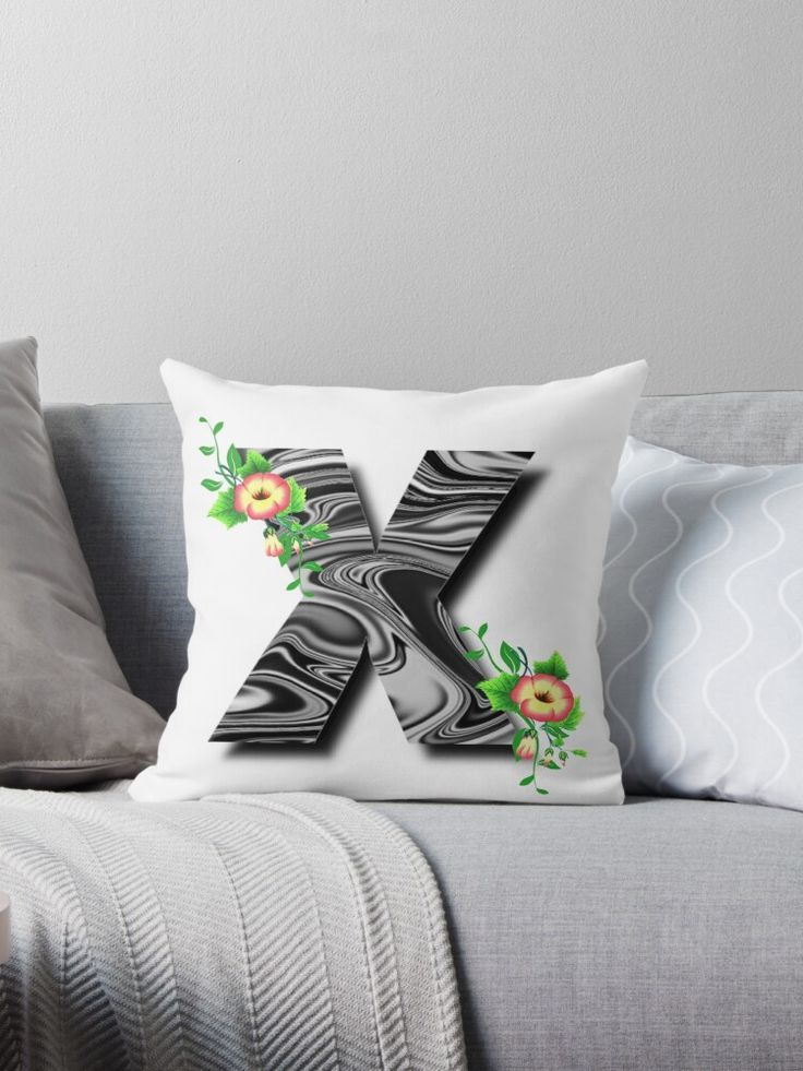 Monogram X Floral Liquid Marble Throw Pillow Designed by iRenza. #throwpillows #homedecor