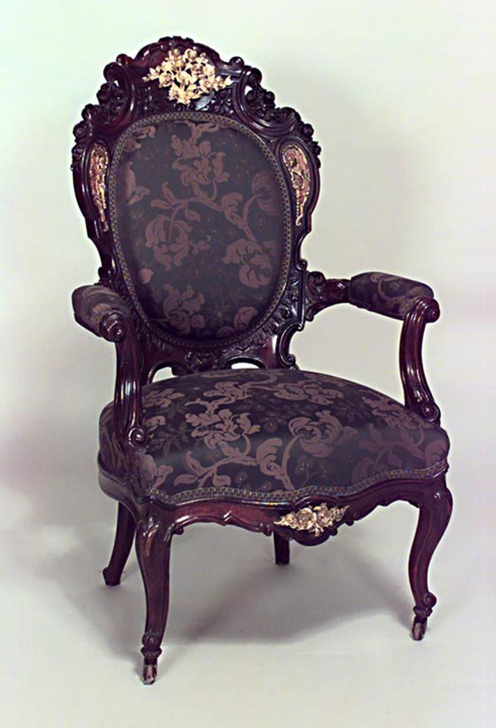 french victorian carved rosewood arm chairs with boulle. Black Bedroom Furniture Sets. Home Design Ideas