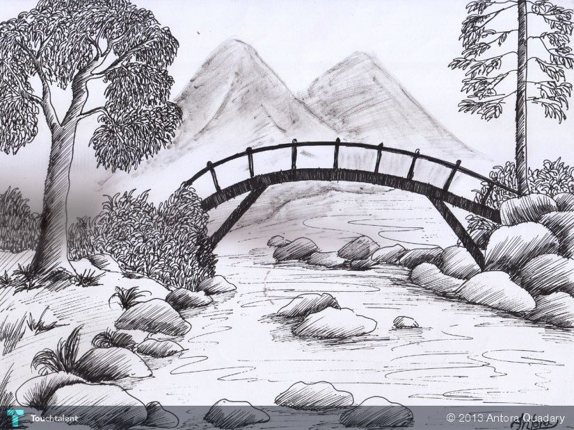This One Is Easy To Make A Good Start For Beginners Landscape Pencil Drawings Landscape Drawings Landscape Sketch