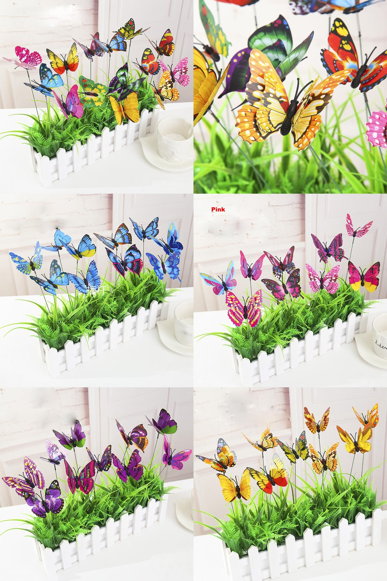 Visit to Buy] Garden Butterflies on Sticks Double-deck Butterfly ...