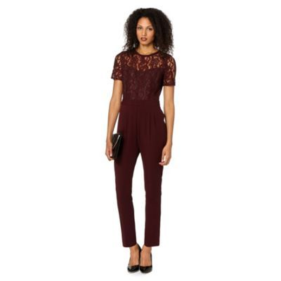 Principles By Ben De Lisi Designer Dark Red Lace Jumpsuit With Images Red Lace Jumpsuit Lace Jumpsuit Red Lace
