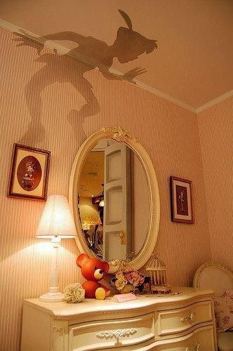 THIS IS AWESOME!!!!!!!! Peter Pan outline cut out and put on top of lamp shade.