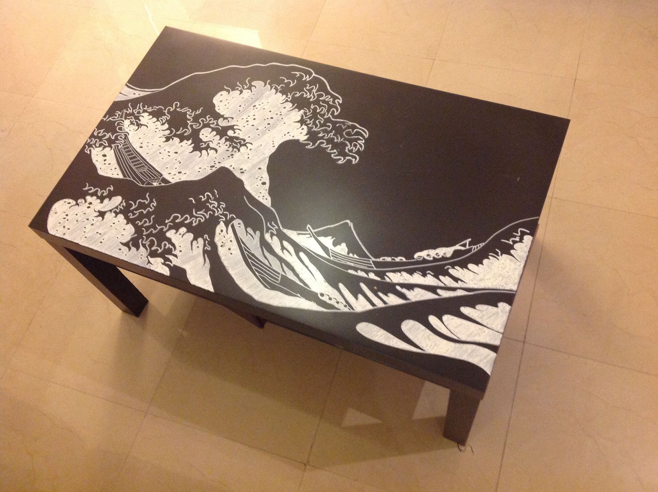 Reinventing of an Ikea table A negative rendition of Hokusai s
