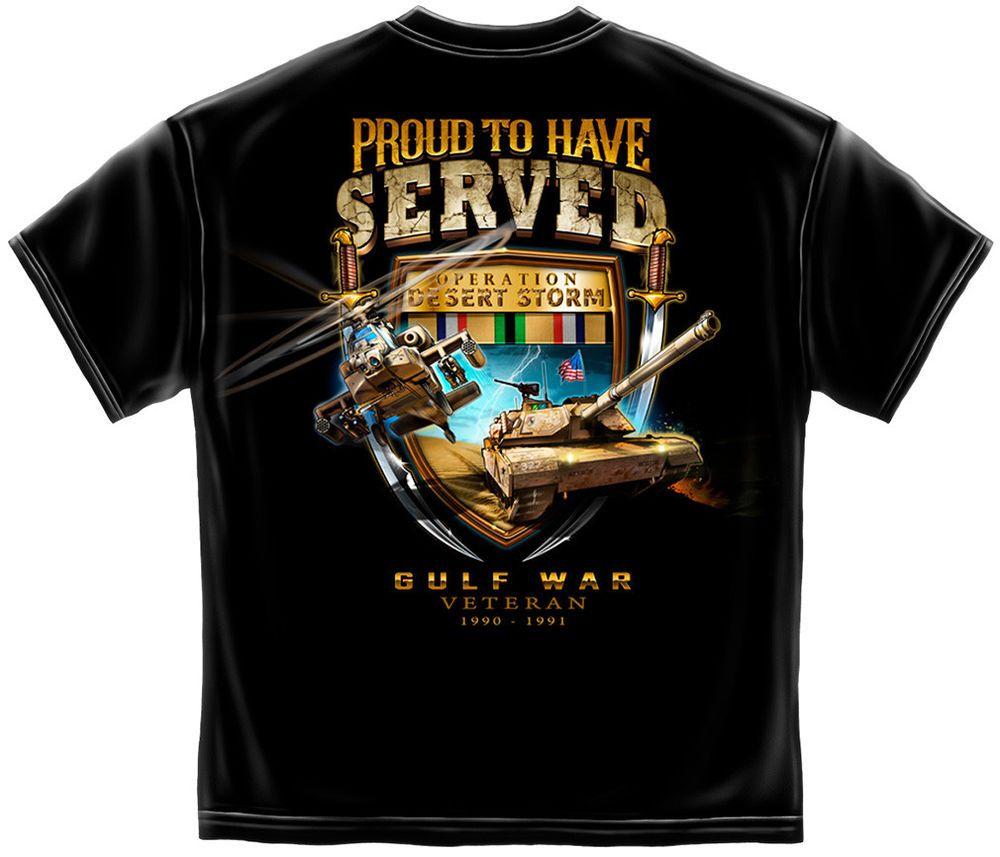 Gulf War Veteran T Shirt Desert Storm Army Navy Air Force Marines USMC Tee S-3XL