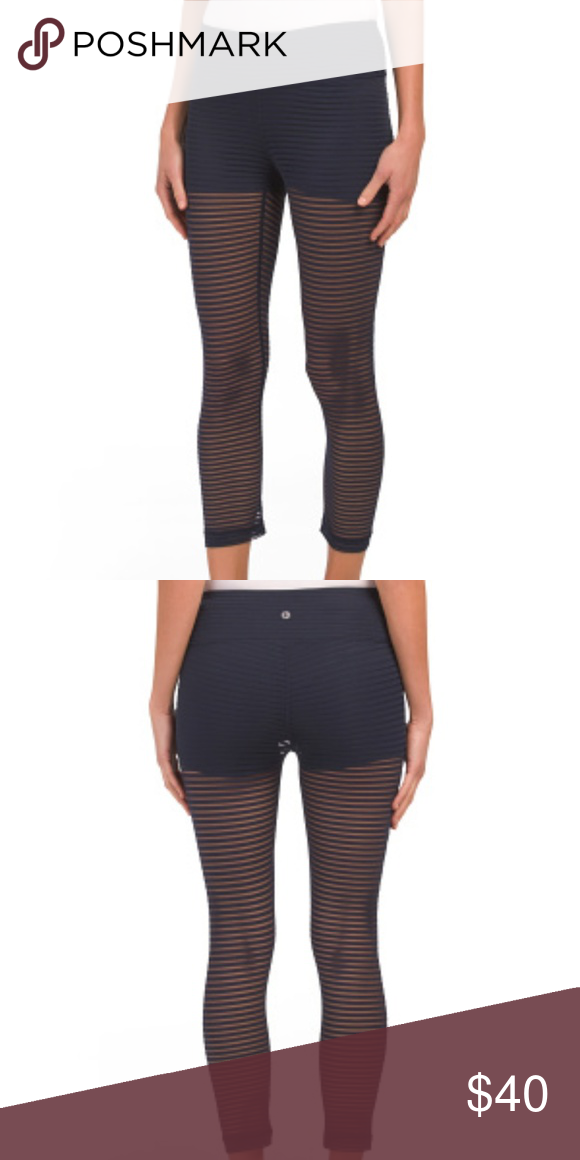 1a451a446c Striped Mesh Active Capri Leggings BRAND NEW IN BAG WITH TAGS COLOR: Ocean  sheer mesh