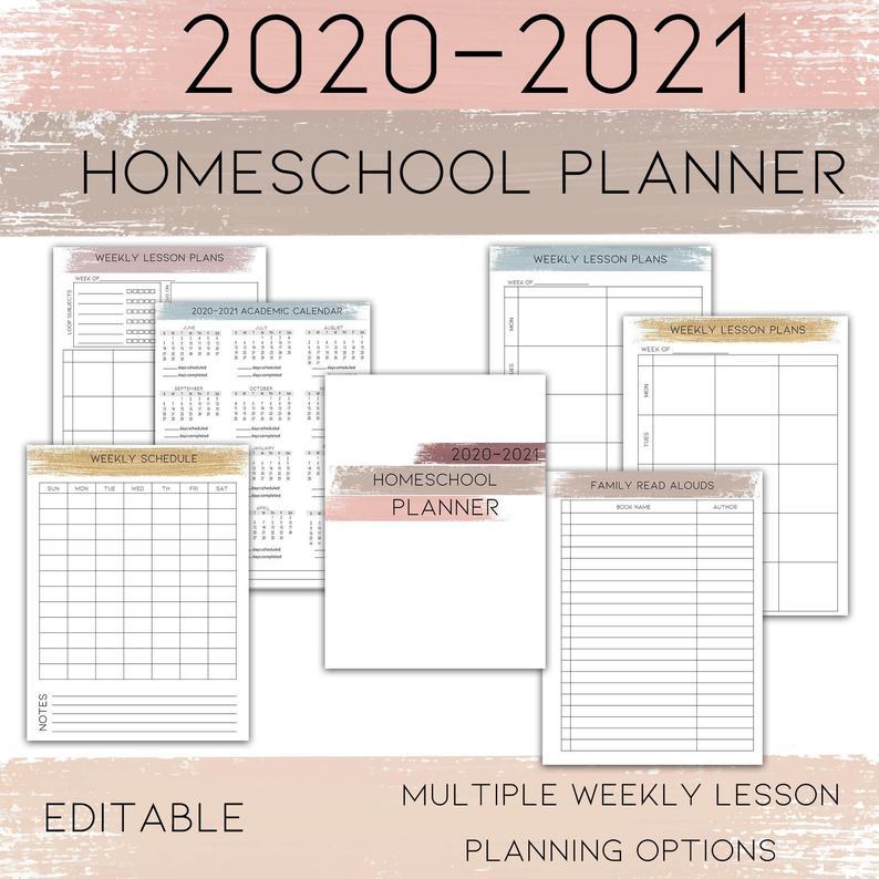 2020 2021 Editable Homeschool Planner Printable Homeschool