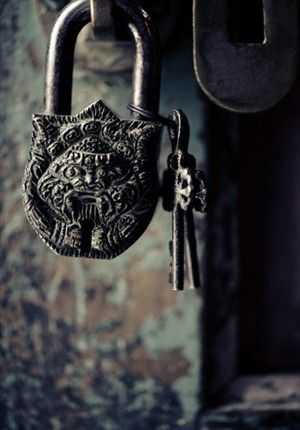 beautiful carved lock and keys