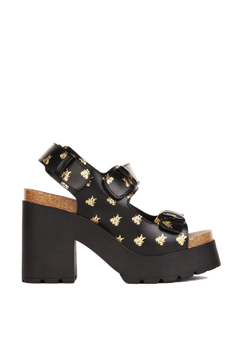 459c4ade9333 Miista Elena Black Gold Bees Platform Sandal