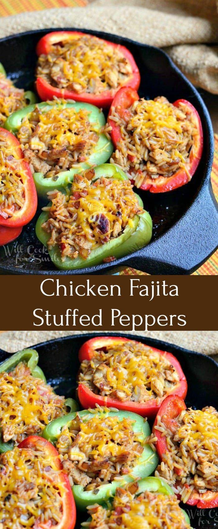 Chicken Fajita Stuffed Peppers #greenpeppers