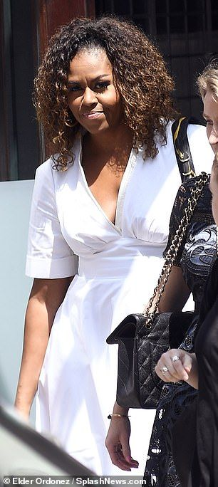 Michelle Obama models natural curls and a white dress for NYC luncheon #africanbeauty