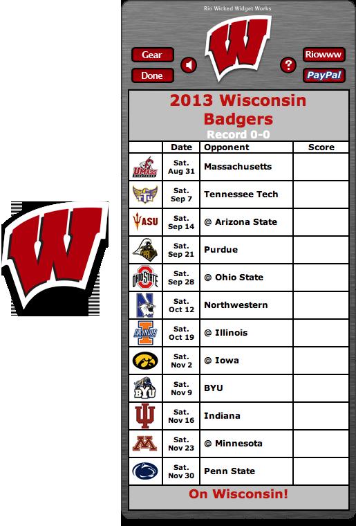 Free 2013 Wisconsin Badgers Football Schedule Widget On