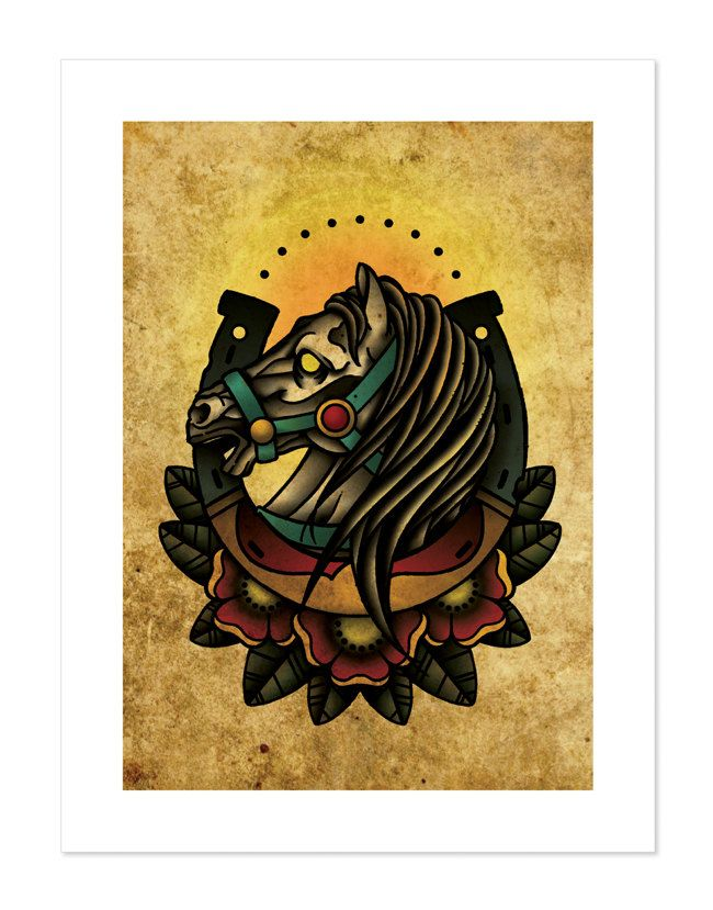 Lucky Horseshoe Horse Neo Traditional Tattoo Flash Old School
