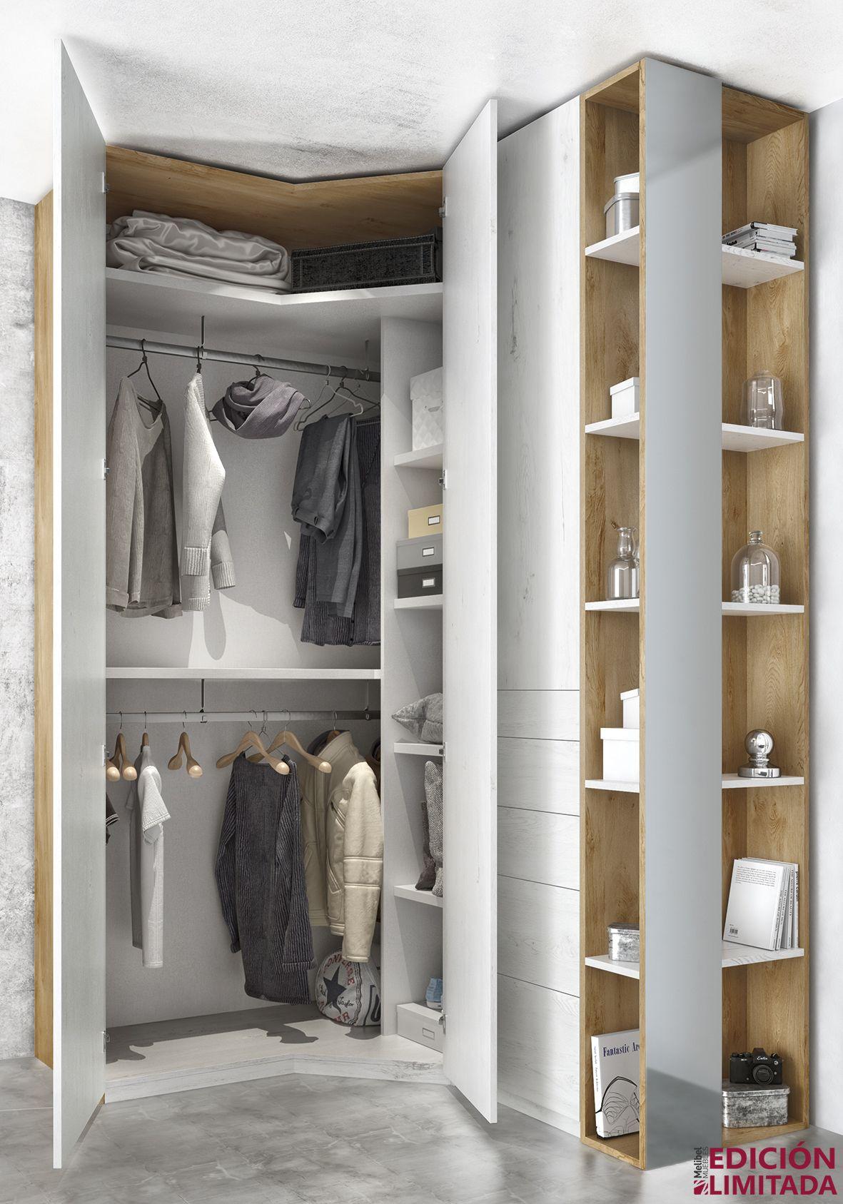 Distribuci n interior del armario rinc n chafl n dormitorio de matrimonio dormitorio moderno - Muebles el chaflan ...