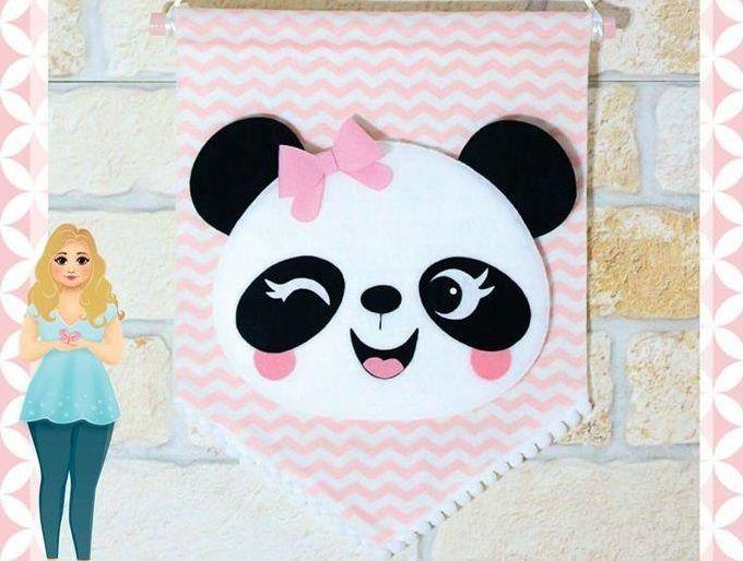 a2ae9327c17c9 Flamula panda em feltro com molde - Ver e Fazer  flamula  flamulamolde   boina  moldes  moldesdefeltro  costura  corte  dicas  moda  fashion  artes   menina ...