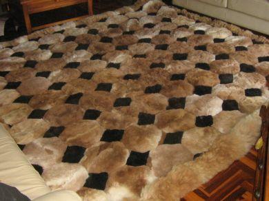 Octagon Design Alpaca Fur Rug Browns Black