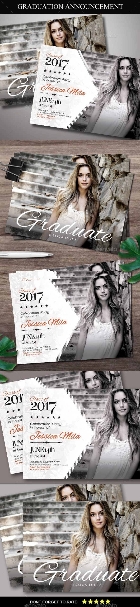 Graduation Announcement Card | Print templates, Template and Card ...