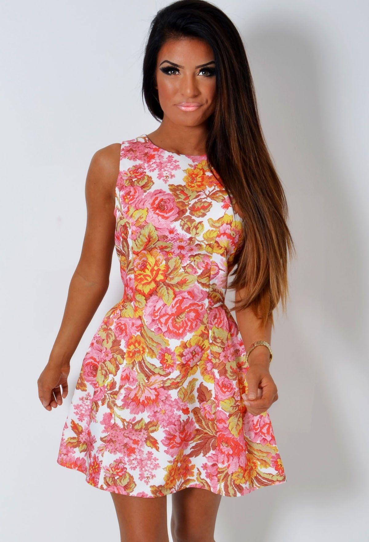 Tanni Vintage Inspired Floral Skater Dress | Ružová