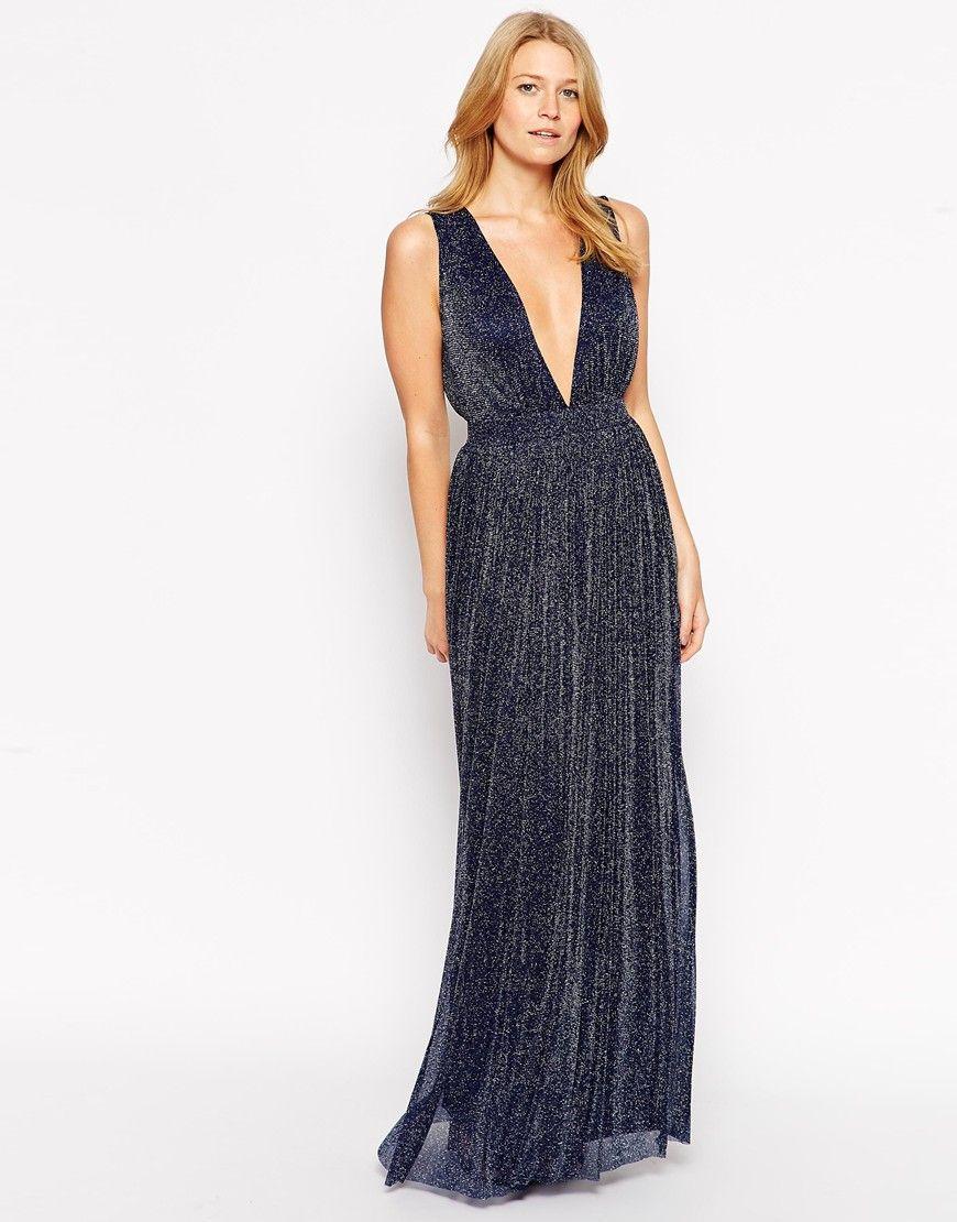 2ad5cb4f6c4 Rare Plunge Neck Maxi Dress in Glitter Fabric