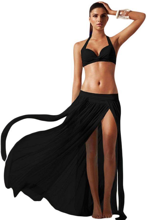 878e4aabf61 2017 swimwear women summer hot sale beach wear Print push up Swimsuit  Bathing Suit   black top Cover-up Maxi Skirt