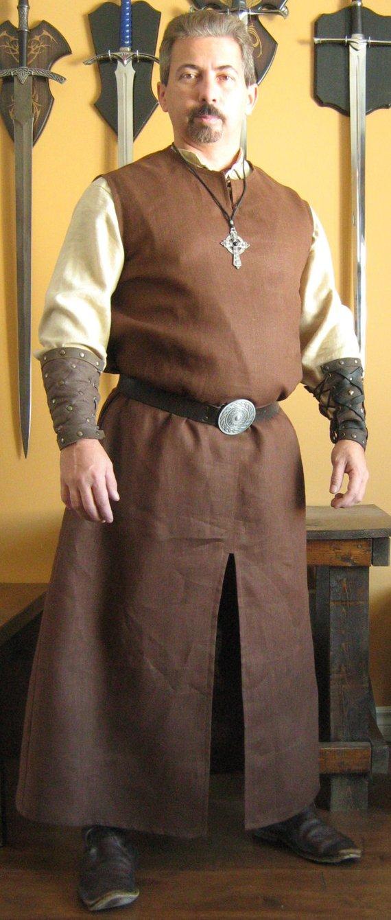 Medieval Celtic Viking Monk Wizard Robe Sleeveless