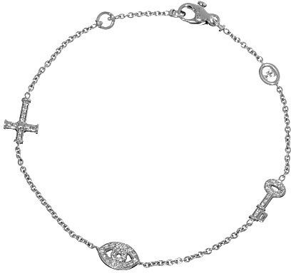 42a57efddce02f Theo Fennell 18ct white-gold key and pave diamond cross and evil eye  bracelet on shopstyle.com