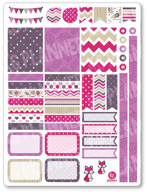 Pink Fox Decorating Kit / Weekly Spread Planner Stickers for Erin Condren Planner, Filofax, Plum Paper