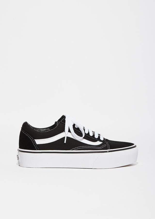 Vans Old Skool Platform Sneakers Black White  b5c70bd36c