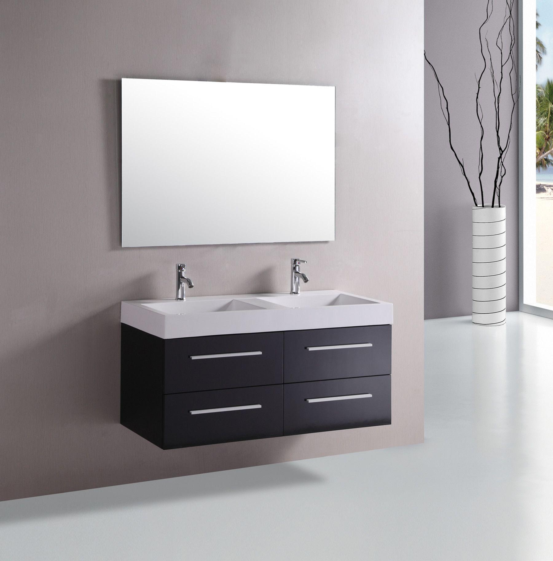 wooden ikea bathroom vanities | Floating Bathroom Sink Design With Simple Wooden Cabinet ...