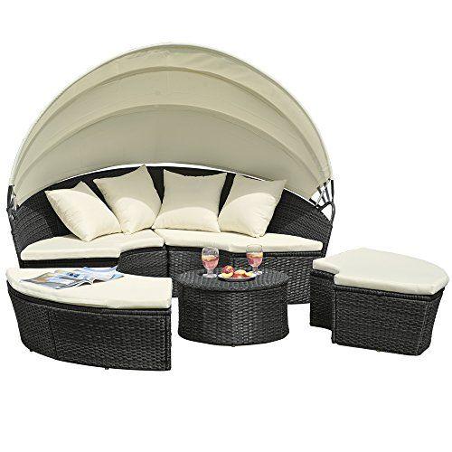 Garden Furniture Bed rattan effect garden day bed - folding canopy - garden sofa with