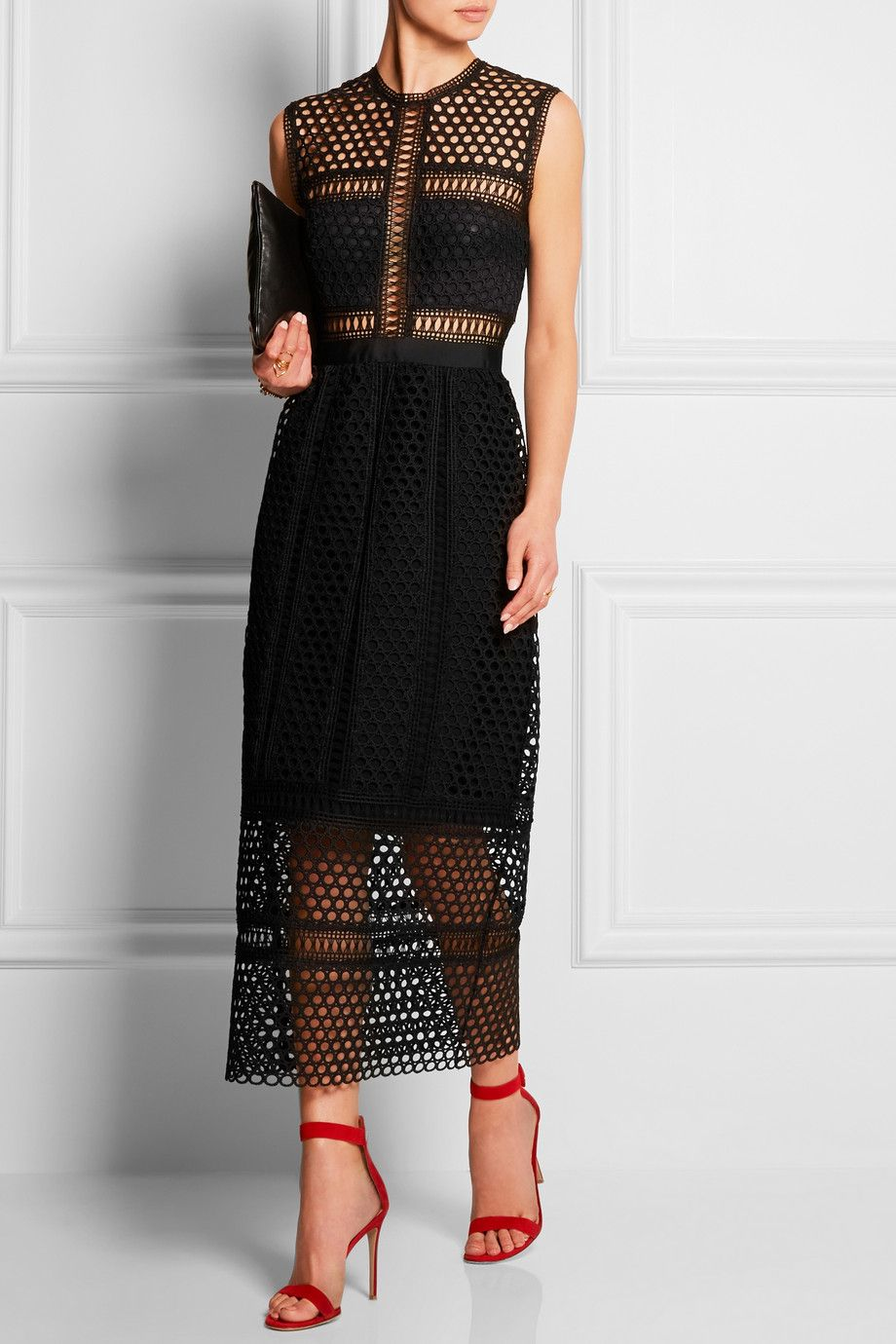 Self-Portrait - Macramé lace midi dress