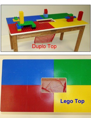 Duplo Or Lego Compatible Play Table With Storage Pocket Solid Oak Wood Legs And Frame Built To Last Made In Usa Choose