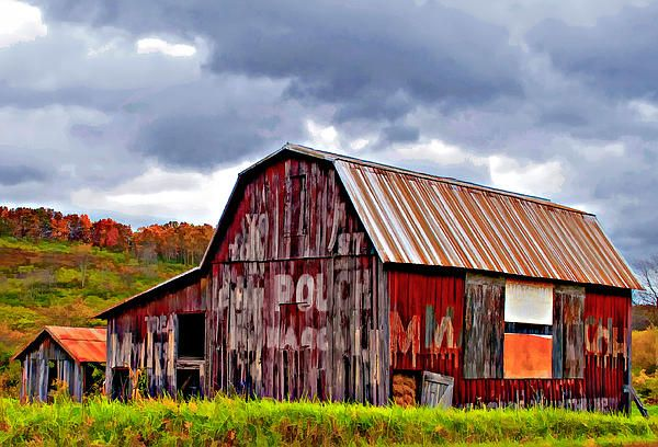 West Virginia Barn.  A classic barn in West Virginia with faded advertising for Mail Pouch chewing tobacco. Paint filter version.