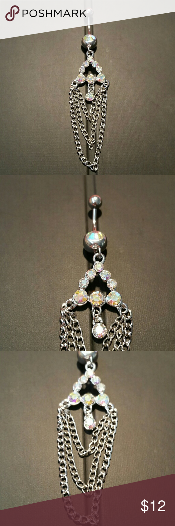 NEW AB Crystal Chandelier Chains Dangle Navel Ring  Thank you for