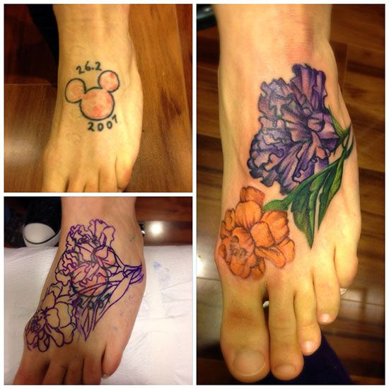 Micky Mouse To Flower Cover Up Tattoo Artist Amy Ausiello