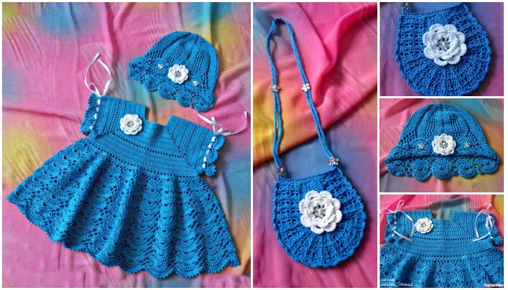 b4389860bde8f Kız çocuğu örgü elbise modeli. En güzel örgü elbise modelleri. Tığ işi örgü  elbise