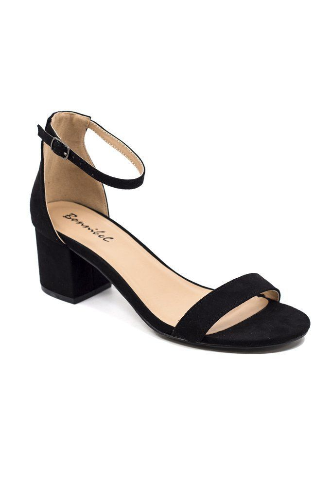 Lillie Heel Black Tie ShoesShort Black HeelsBlack