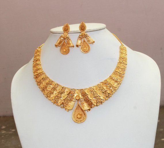 92f7239c9a 22kt Gold Plated Dubai Style Designer Necklace Set / Gift For Her / Handmade  Gold Necklace Set / Ind