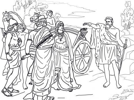 Jezebel And Ahab Meeting Elijah In Naboth S Vineyard Coloring
