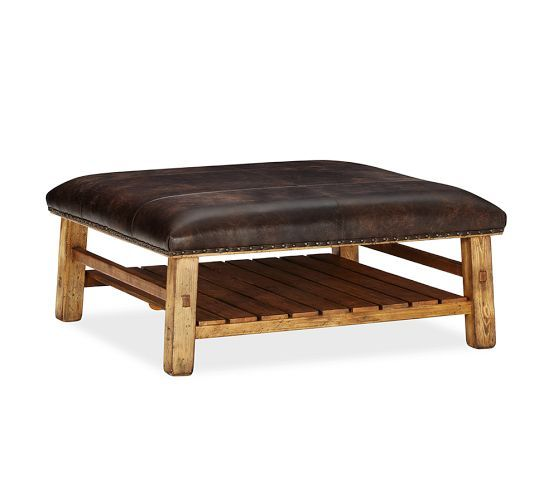 Pottery Barn Coffee Table Ottoman: Caden Equestrian Upholstered Square Ottoman, Leather