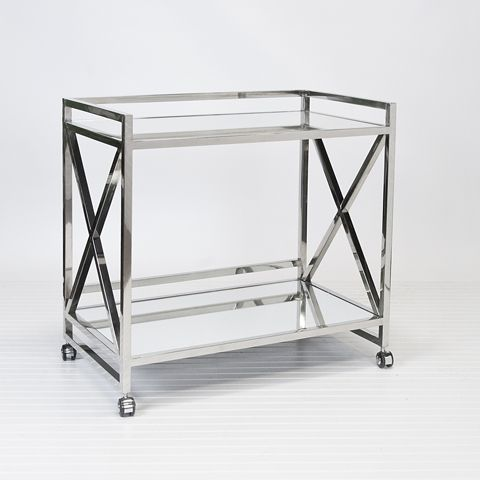 Gerard Polished Stainless Steel Bar Cart. Will be less than the M. Weiss one